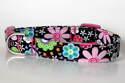 Flowers Dog Collar Collars - Handmade Black w Colorful Flowers Dog Collar Sm, Med & Lg
