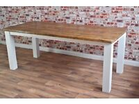 Rustic Farmhouse Square Leg Dining Table Reclaimed Wood Timber Pine