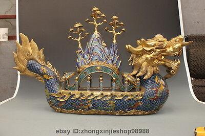 China Pure Bronze 24K Gold cloisonne Jade hill RuYi Fish Huge Dragon ship Boat