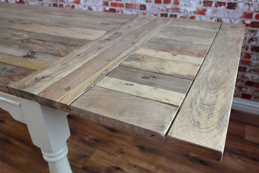 Extending Rustic Farmhouse Kitchen Dining Table Painted in Farrow