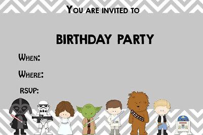Cartoon Star Wars Birthday Party Invites SW1