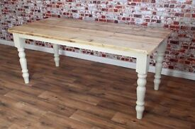 8ft Solid Pine dining Kitchen Table Made Reclaimed Timber Wood Farmhouse Rustic Style Scub Top