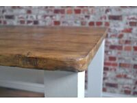Farmhouse Rustic Reclaimed Kitchen Dining Table Made From Reclaimed Pine