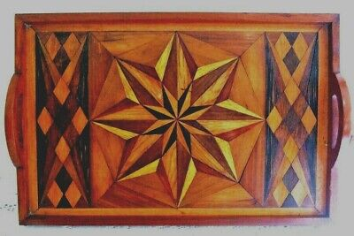 Antique Wooden Marquetry tray, stunning design, Rare, a little damage
