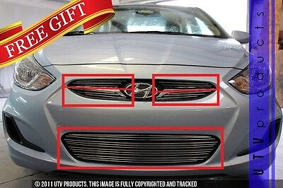 GTG Polished 8PC Insert Billet Grille fits 2012 - 2016 Hyundai Accent 4 and 5DR