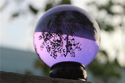 40mm+Stand Asian Purple Magic Crystal Healing Ball Sphere Charming Purple Crystal