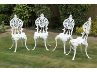 set of 8 white cast aluminium garden chairs