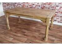 Hardwood Extendable Rustic Farmhouse Dining Table - Seats Up To 12
