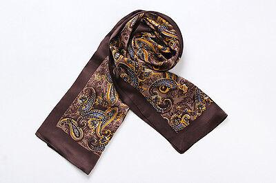 Long Silk Scarf for Men Brown Color Paisley Print SFM016