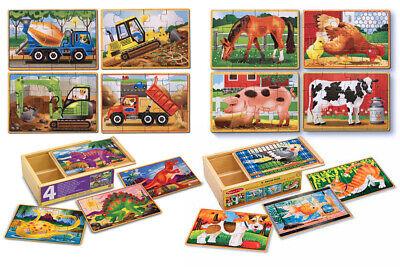 Melissa & Doug 4x12 Teile Holz Puzzle Dinosaurier Baufahrzeuge Farm Haustiere - 4 X 12 Holz
