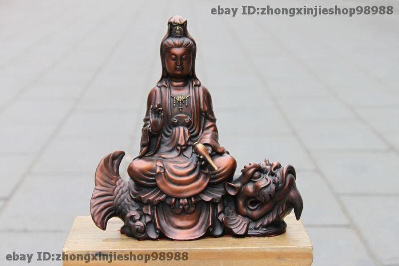 Tibet Pure Bronze Kwan-Yin Bodhisattva Sit on Dragon Fish goddess Statue