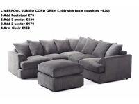 **7-DAY MONEY BACK GUARANTEE!!** Jambi Dual-Padded Extra Thick Jumbo Fabric Corner Sofa