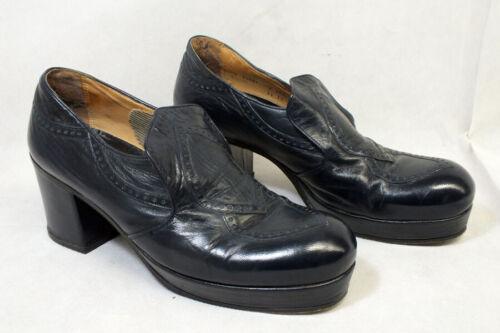 Vtg Mens 1970s Nunn Bush Navy Blue Disco Platform Shoes Heels 10 Travolta Era