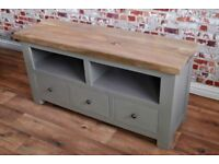 Rustic Farmhouse Hardwood TV Entertainment Cabinet Unit with Three Drawer