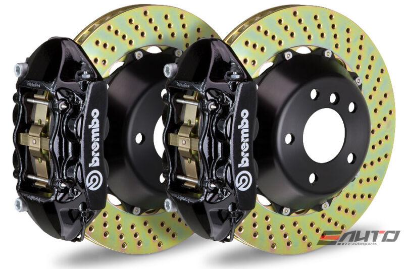 Brembo Rear Gt Big Brake 4pot Caliper Black 345x28 Drill Disc Benz C63 Amg W204