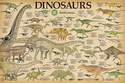 Dinosaurs   Smithsonian Poster 24X36   Chart School 241203