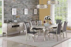 Sale on spectacular 7 Pc Rectangular Table in Silver Grey Finish, Features Crystal Detailing on Grey(GL2016)