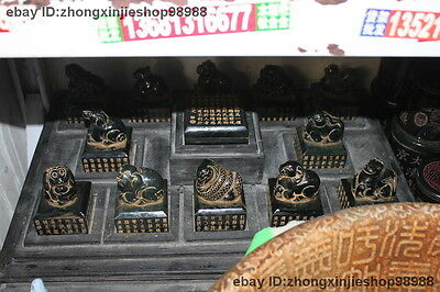 China Royal Jade Jasper Feng Shui Dragon horse animal Twelve zodiac Stamp Seal