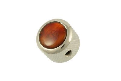 NEW Q Parts DOME KNOB Chrome & Tortoise Top Fits Strat Tele & Bass! MK-3171-010