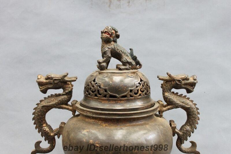 "18"" China old Bronze Foo Dog lion Two Dragon Palace Hall incense burner Censer"