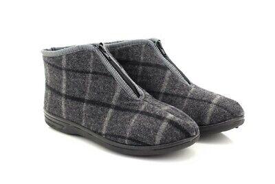 Mens Justin II Front Zip Indoor Slippers Grey
