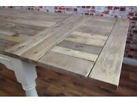 Farmhouse Rustic Hardwood Extending Rustic Dining Table - To Seat 6 - 12 people