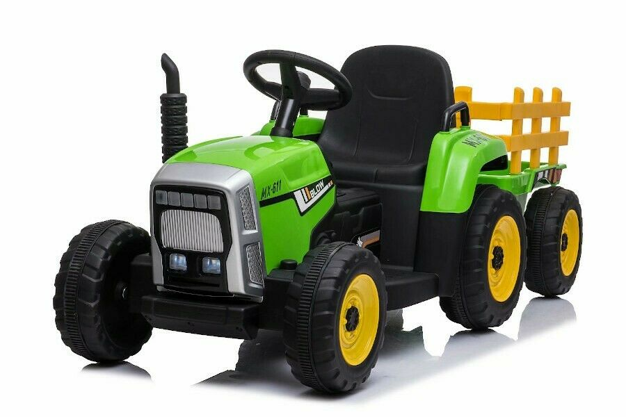 Kinderfahrzeug - Elektro Auto Traktor Mit Anhänger - 12V Akku,2 Motoren