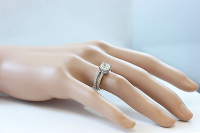 GIA I-SI1 18k Whtie Gold Cushion Cut Diamond Engagement Ring And Band 2.20ctw 8
