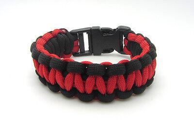 New Paracord Parachute Cord Emergency Survival Hiking Bracelet Red-Black](Parachute Cord Bracelets)
