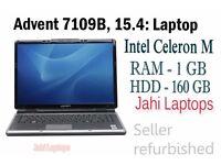 Advent 7109B, 15.4: Laptop, Intel Celeron M, 1GB Ram, 160GB HDD WinXP- 0515