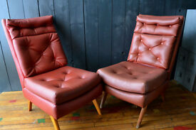 vintage pair of chairs danish style G-plan style