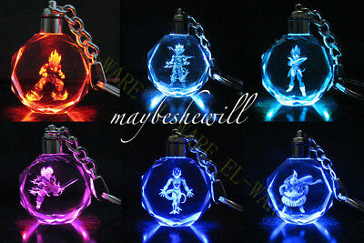 Dragon Ball Dragonball Z Crystal Key Chain 7 Model light colorful flash Pendant