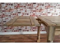 Rustic Farmhouse Dining Kitchen Hardwood Tropical Table Space Saving Extendable Seats 4-8