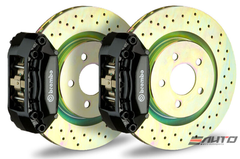 Brembo Front Gt Big Brake Bbk 4piston Black 320x28 Drill Bmw E36 E46 Z3 Z4