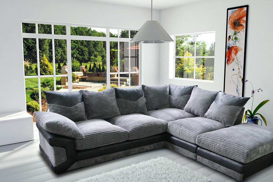 1 year warranty brand new dino jumbo cord corner sofa. Black Bedroom Furniture Sets. Home Design Ideas