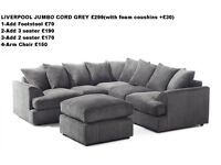 *1 YEAR WARRANTY**LIVERPOOL JUMBO CORD CORNER+3+2 SEATER*EXPRESS DELIVERY*CALL 07424775152