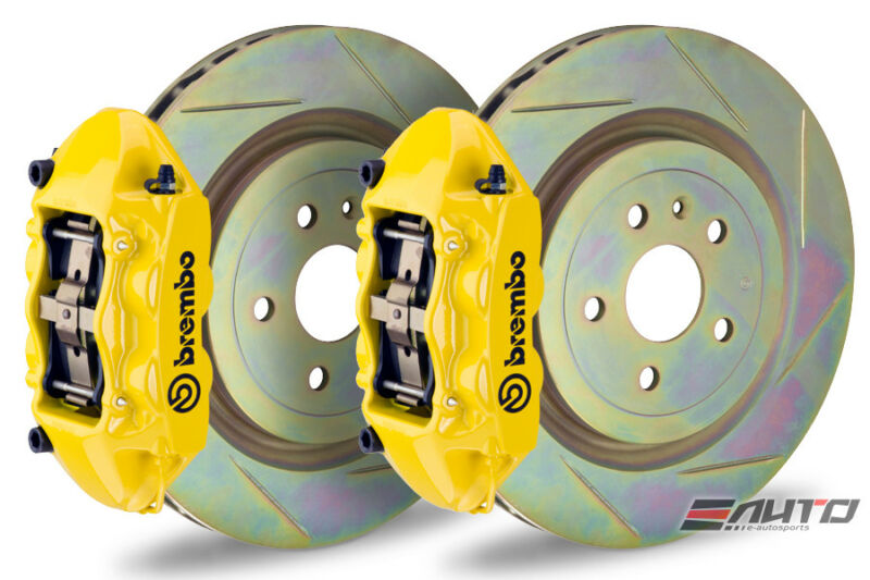 Brembo Rear Gt Big Brake Bbk 4piston Yellow 365x28 Slot Disc Camaro V6 10-14