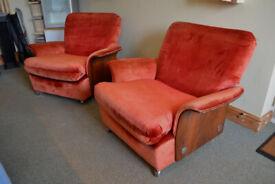 Mid century vintage retro danish style G plan tulip chairs