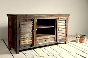 Reclaimed rustic wood shutter door TV stand-side board