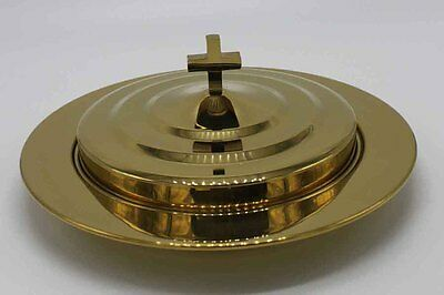 Brasstone--Stainless Steel Communion Bread Tray and Cover Brass Tone Communion Tray