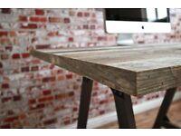 Rustic Reclaimed Teak Industrial Office Computer Desk Aged Wood