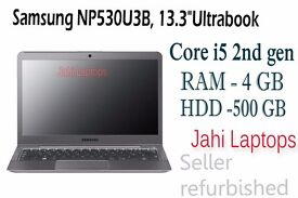 """Samsung NP530U3B, 13.3""""Ultrabook, Core i5 2nd gen,4GB RAM,500GB HDD, Win 7-0775"""