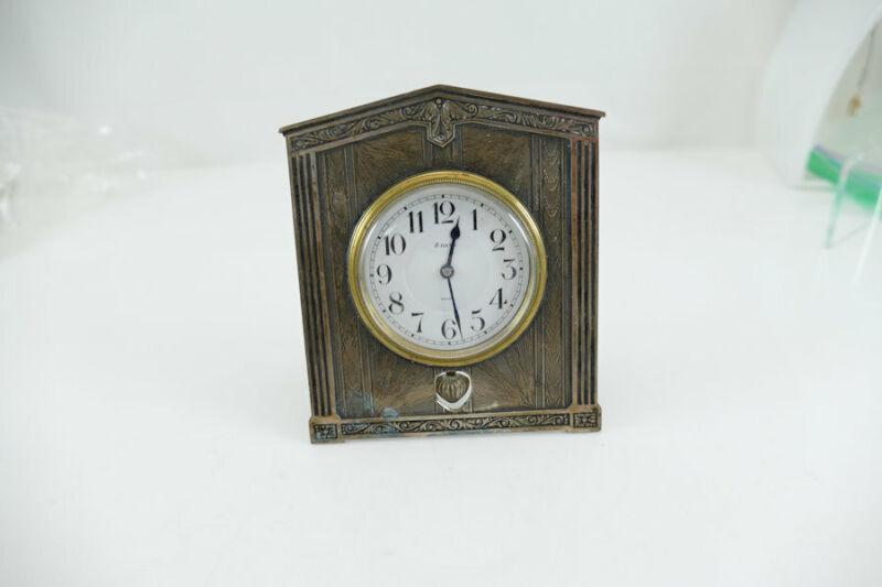 Fine Sterling Silver Folding Boudoir / Desk  Clock  Art Deco  1920