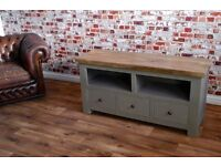 Rustic Farmhouse Hardwood TV Entertainment Cabinet Unit with Three Drawers