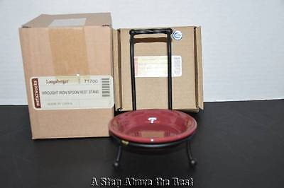 Longaberger WT Vertical Spoon Rest in Paprika & Wrought Iron Stand NIB
