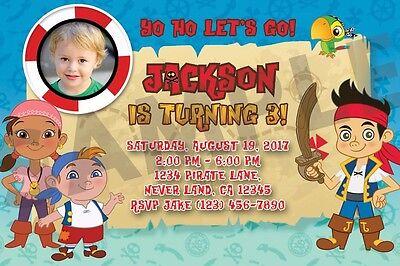 Jake And The Neverland Pirates Invitation (You Print) - Custom Photo Invite (Jake And The Neverland Pirates Birthday Invitations)