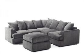 **7-DAY MONEY BACK GUARANTEE!** - Jamba Corded Fabric Corner Sofa or 3 and 2 Sofa Set - BRAND NEW!