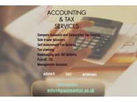 Accounting and bookkeeping services for small businesses - self assessment tax returns