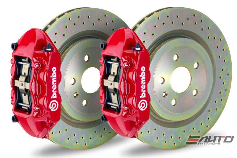 Brembo Front Gt Brake Bbk 4pot M Caliper Red 355x32 Drill Disc Mustang 05-13