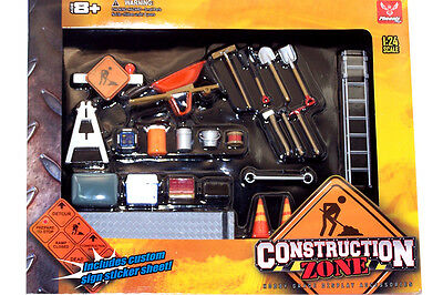 Hobby Gear 1:24 Scale Construction Zone Series Diorama Set for Diecast Model Toy